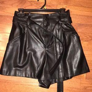 Zara faux leather high waist shorts